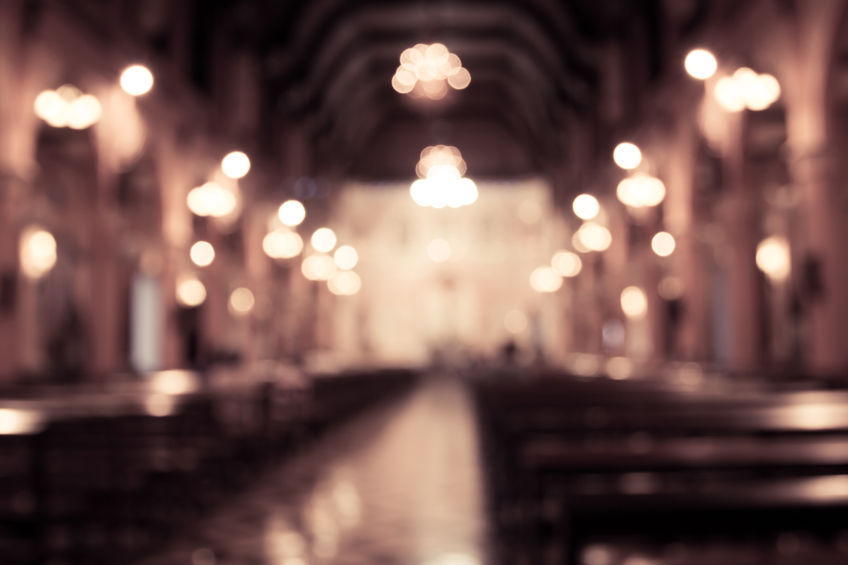 Blurred image of inside a denominational church