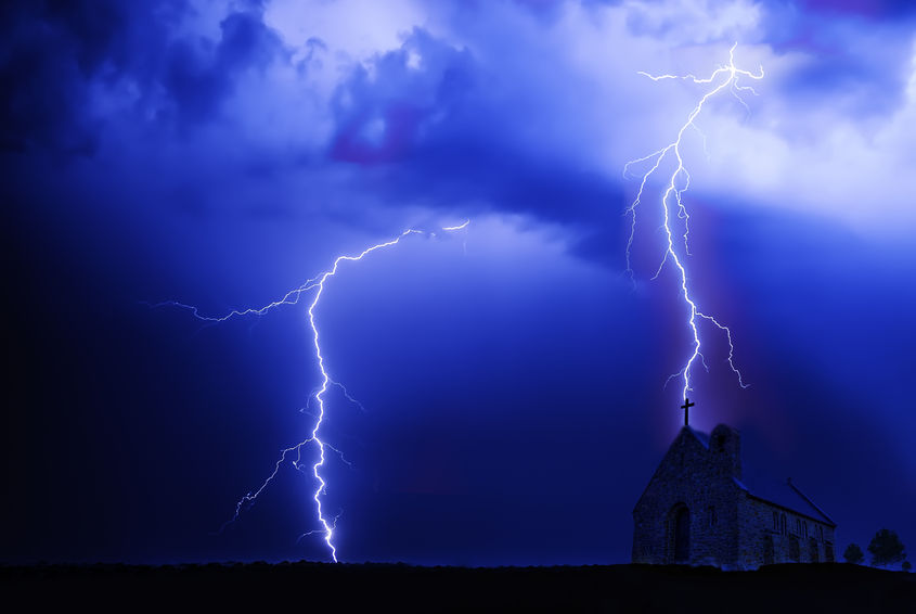 Church with lightning above showing perilous time will come