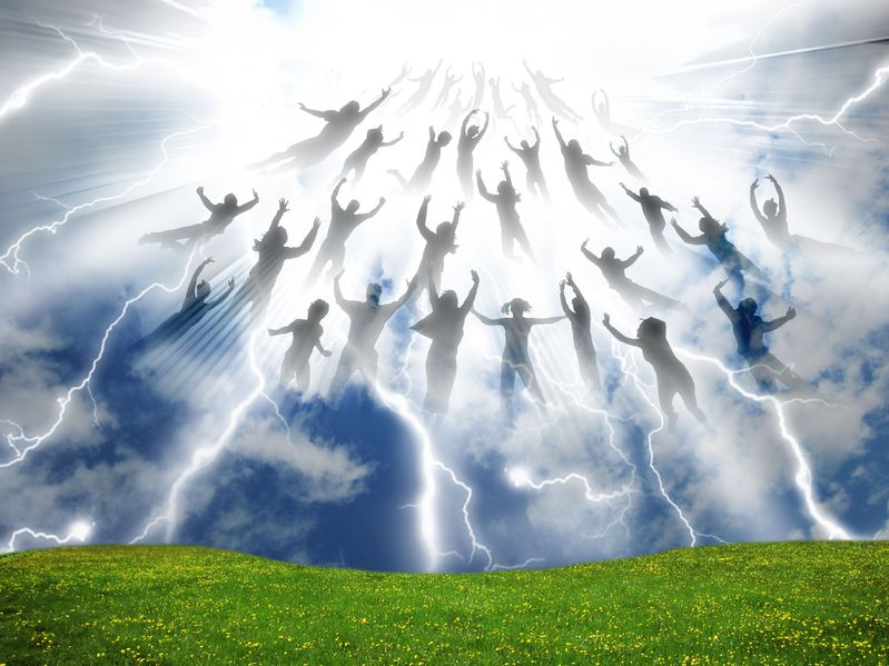 Pre-tribulation rapture with people ascending up in the sky