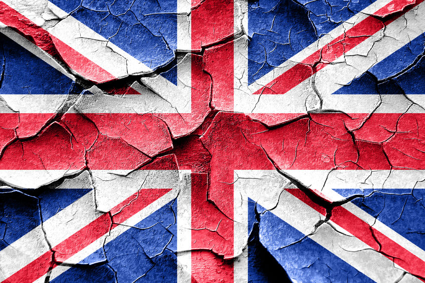 Lawlessness in the UK - flag broken and cracked