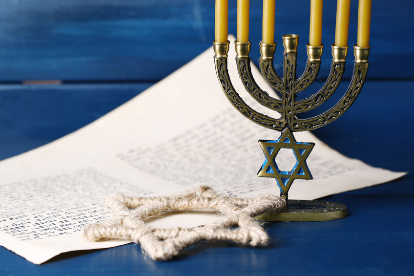 Menorah, star of David, and Scripture