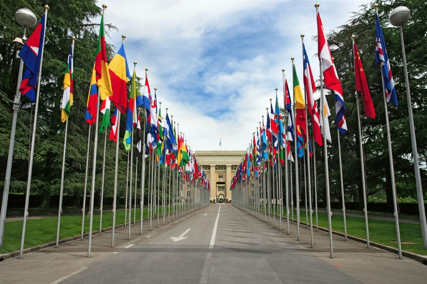 United Nations entrance Geneva, Switzerland