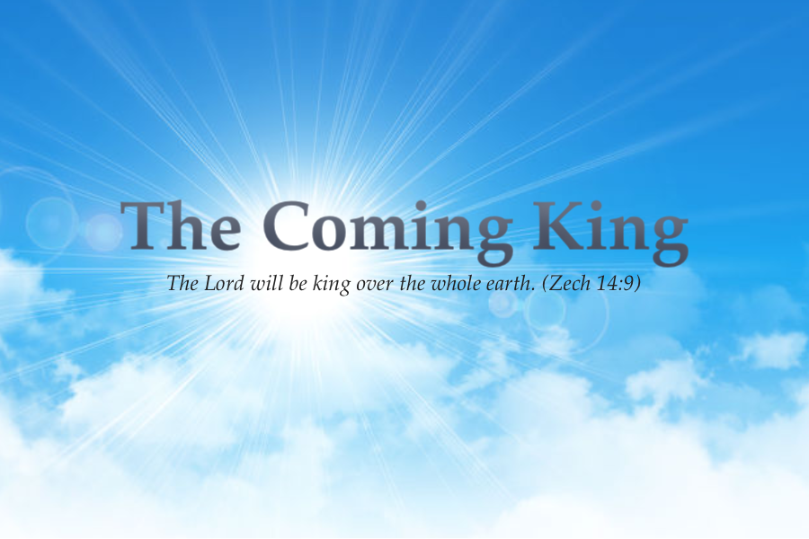 The Coming King text in blue bright sky